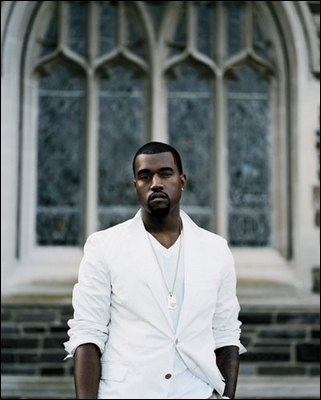 Kanye West's not-so-hip-hop choice of wardrobe is predominantly the preppy look, but his music is decidedly platinum-selling hip-hop. Publicity photo by Sarah Friedman.