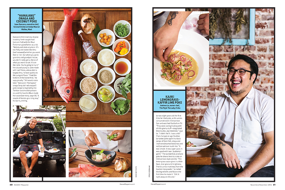 Isaac Bancaco, executive chef, Ka'ana Kitchen at Andaz Maui at Wailea, Maui. Photos: Sue Hudelson // Andrew Le, owner-chef, The Pig & The Lady, O'ahu. Photos: Steve Czerniak